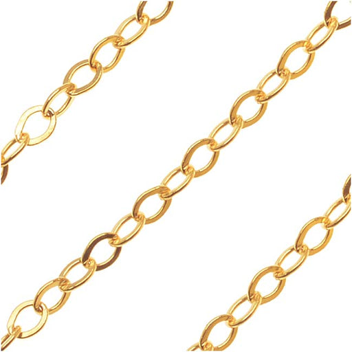 14K Gold Filled Fine Flat Cable Chain, 1.5mm, by the Foot