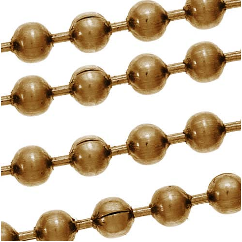 Antiqued Brass Plated Steel Ball Chain, 2.4mm, by the Foot