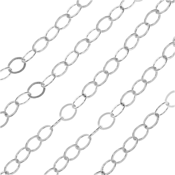 Sterling Silver Cable Chain, 3.2mm, by the Foot