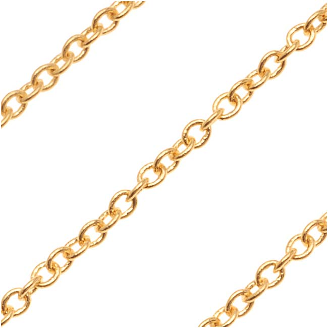 22K Gold Plated Cable Chain, 1.8mm, by the Foot