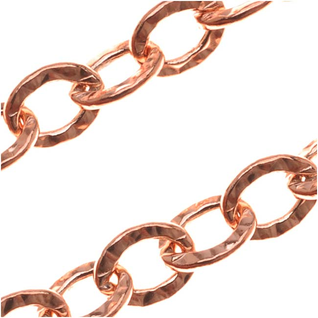 Copper Hammered Cable Chain, 6mm, by the Foot