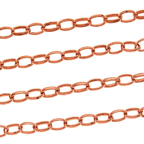Copper Oval Rolo Chain, 4mm, by the Foot