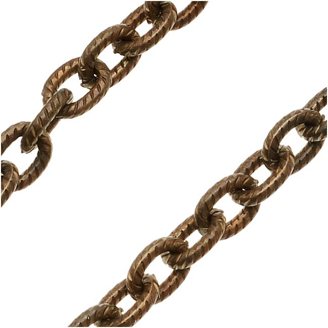 Vintaj Natural Brass Petite Etched Cable Chain, 4x5mm, by the Foot