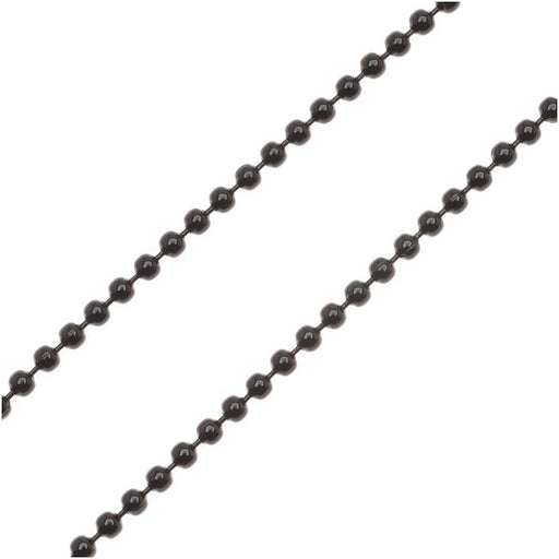 Black Color Steel 2mm Ball Chain, by the Foot