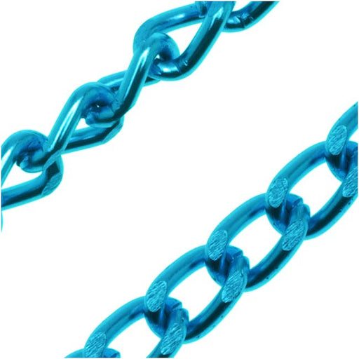 Capri Blue Color Aluminum Curb Chain, 4mm, by the Foot