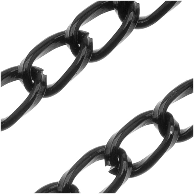 Black Color Aluminum Curb Chain, 5mm, by the Foot