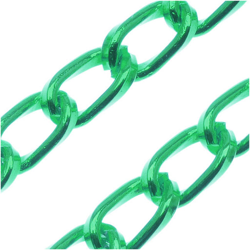 Green Color Aluminum Curb Chain, 5mm , by the Foot