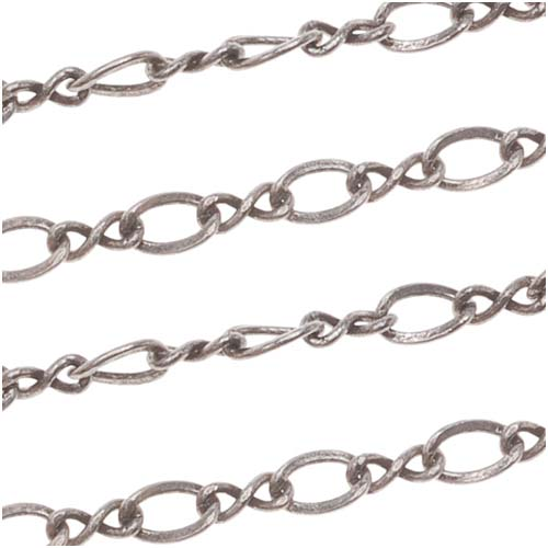 Antiqued Silver Plated Figure Eight Chain, 2mm, by the Foot
