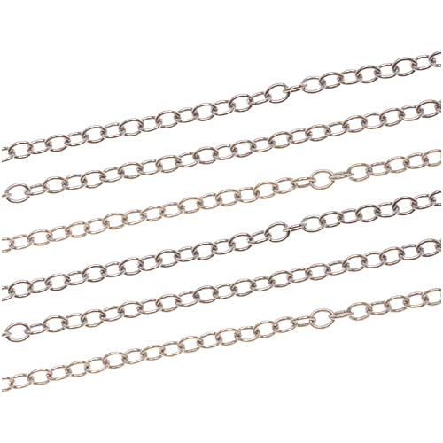 Antiqued Silver Plated Cable Chain, 2.2mm, by the Foot