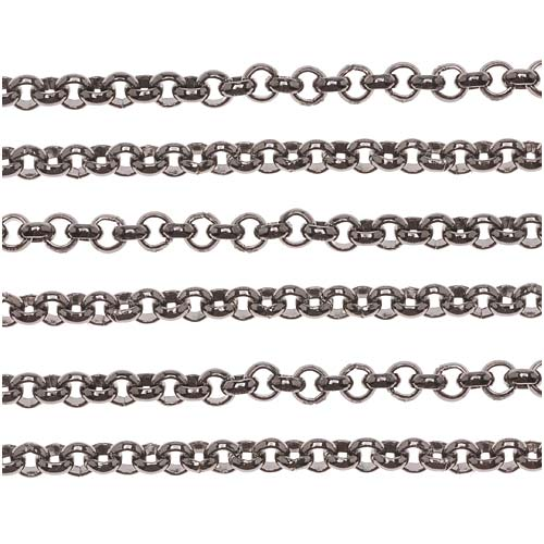 Gun Metal Plated Rolo Chain, 3.5mm, by the Foot