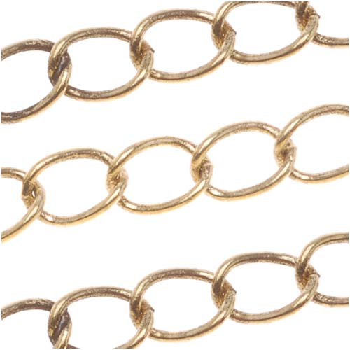 Antiqued 22K Gold Plated Curb Chain, 4mm, by the Foot