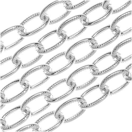 Nunn Design Silver Plated Textured Cable Chain, 9mm, by the Foot