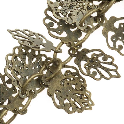Charm Chain, Oak Leaf 10mm, Antiqued Brass, Cut to Order, by the Inch