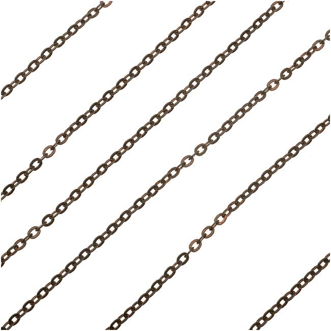 Vintaj Natural Brass Flat Cable Chain, 3mm, by the Foot