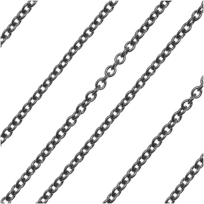 Gun Metal Plated Delicate Cable Chain, 1.2mm, by the Foot
