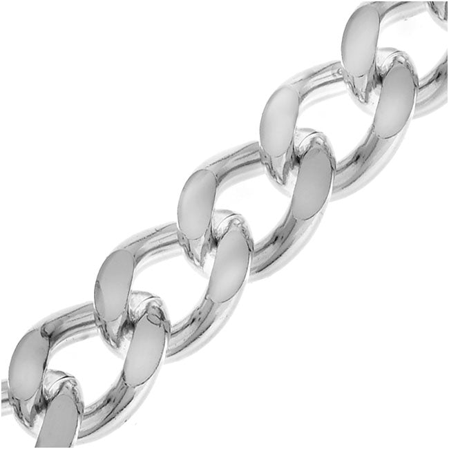 Silver Plated Heavy Filed Curb Chain, 9.5mm, by the Inch