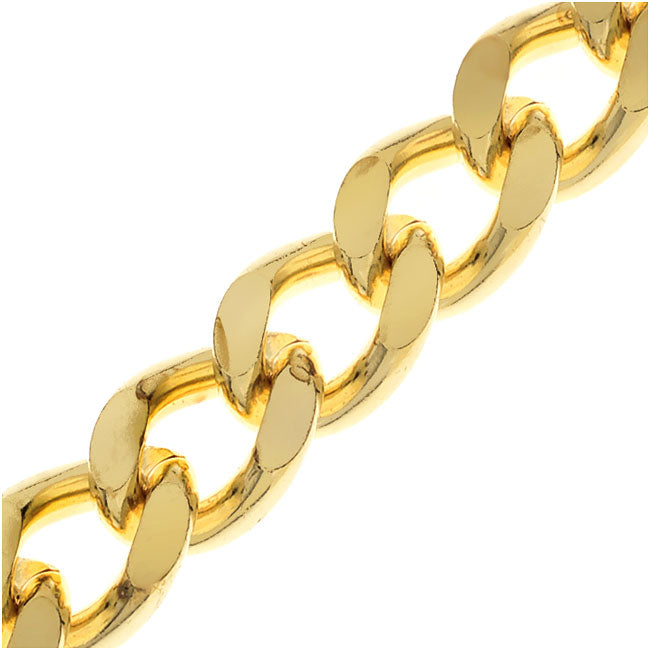 Gold Plated Heavy Filed Curb Chain, 9.5mm, by the Inch