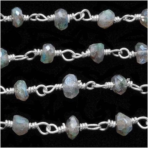 Wire Wrapped Gemstone Chain, Labradorite, Sterling Silver, 3mm Rondelle, by Inch