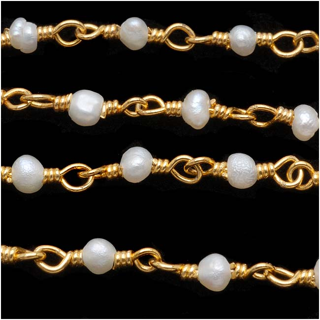 Wire Wrapped Gemstone Chain, White Seed Pearls 3mm, Gold Vermeil, by the Inch