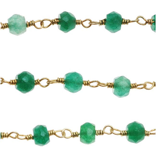 Wire Wrapped Gemstone Chain, Green Onyx 3.5mm Rondelles, Gold Vermeil, by the Inch