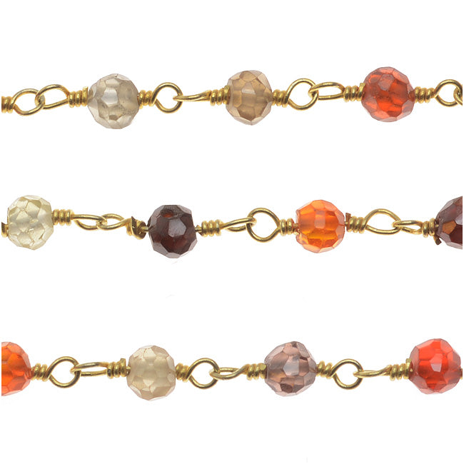 Wire Wrapped Gemstone Chain, Multi-Colored Micro Faceted 3mm, Gold Vermeil, by the Inch