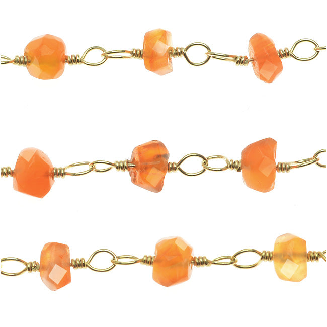 Wire Wrapped Gemstone Chain, Carnelian 4mm Rondelles, Gold Vermeil, by the Inch