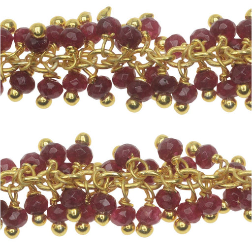 Wire Wrapped Gemstone Chain, Ruby Drops 3mm, Gold Vermeil, by the Inch