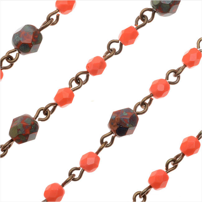 Beaded Czech Glass Chain by Beadlinx, 4 & 6mm Coral Fire Polish, Brass, by the Inch