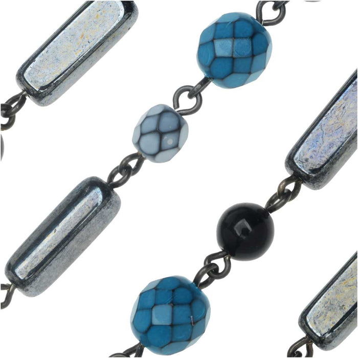 Beaded Czech Glass Chain by Beadlinx, Blue & Hematite Mix Gun Metal, by the Inch