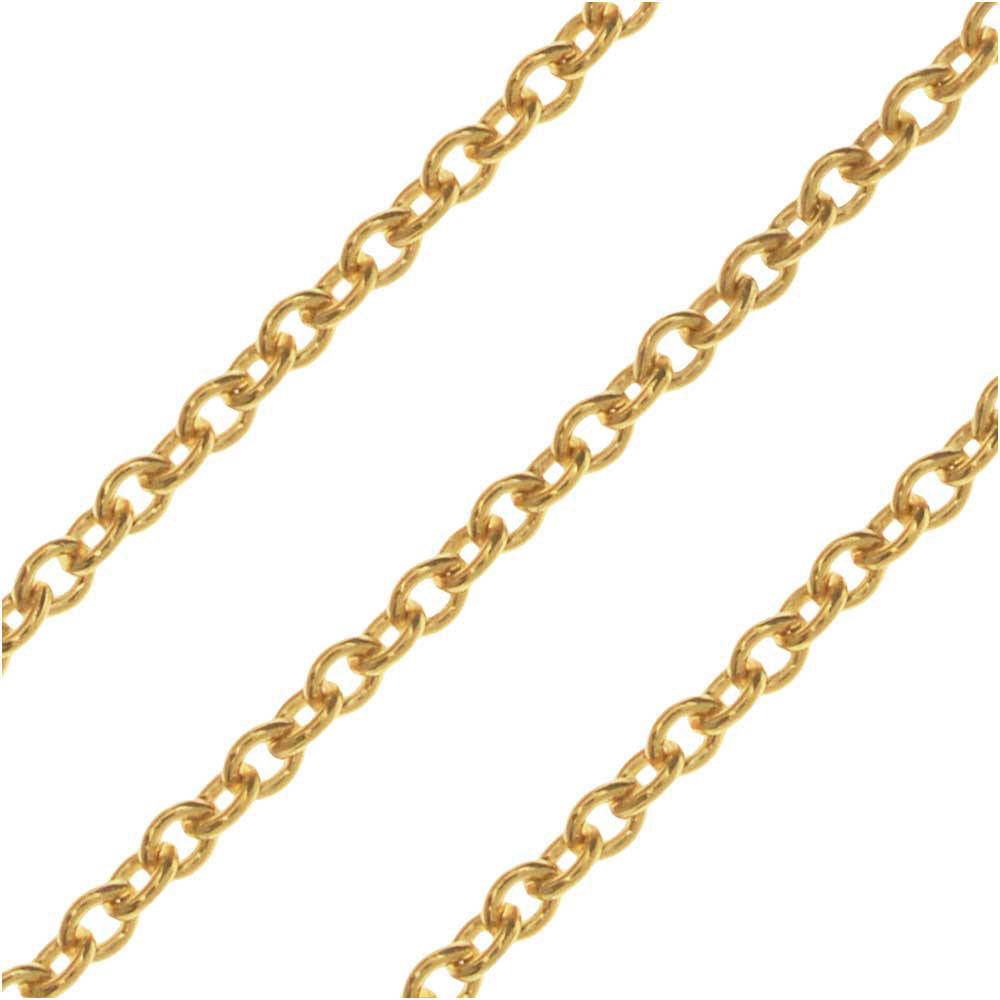 14k Gold Filled Cable Chain, 1mm, by the Inch