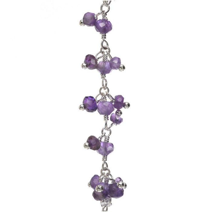 Wire Wrapped Gemstone Chain, Amethyst 3.5mm Dangle Drops, Sterling Silver, by the Inch