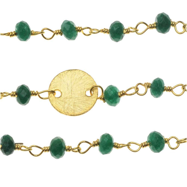 Wire Wrapped Gemstone Chain, Emerald Rondelles and 8mm Gold Pailettes, by the Inch