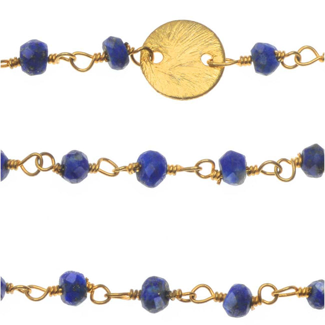 Wire Wrapped Gemstone Chain, Lapis Rondelles 3mm and 8mm Pailettes, by the Inch