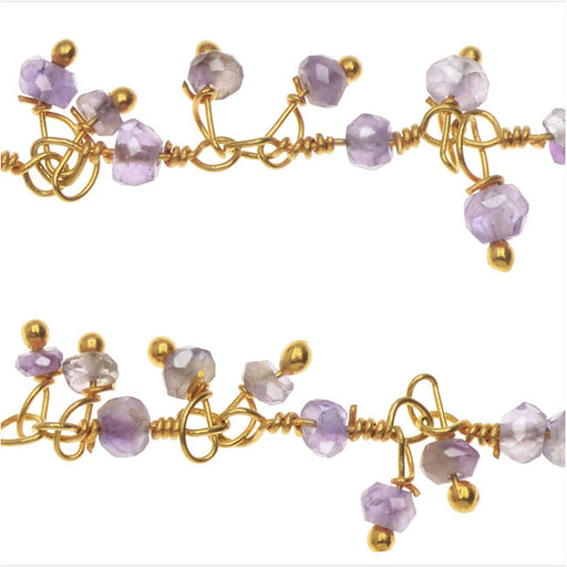 Wire Wrapped Gemstone Chain, Amethyst Rondelle Drops 2mm, Gold Vermeil, by the Inch