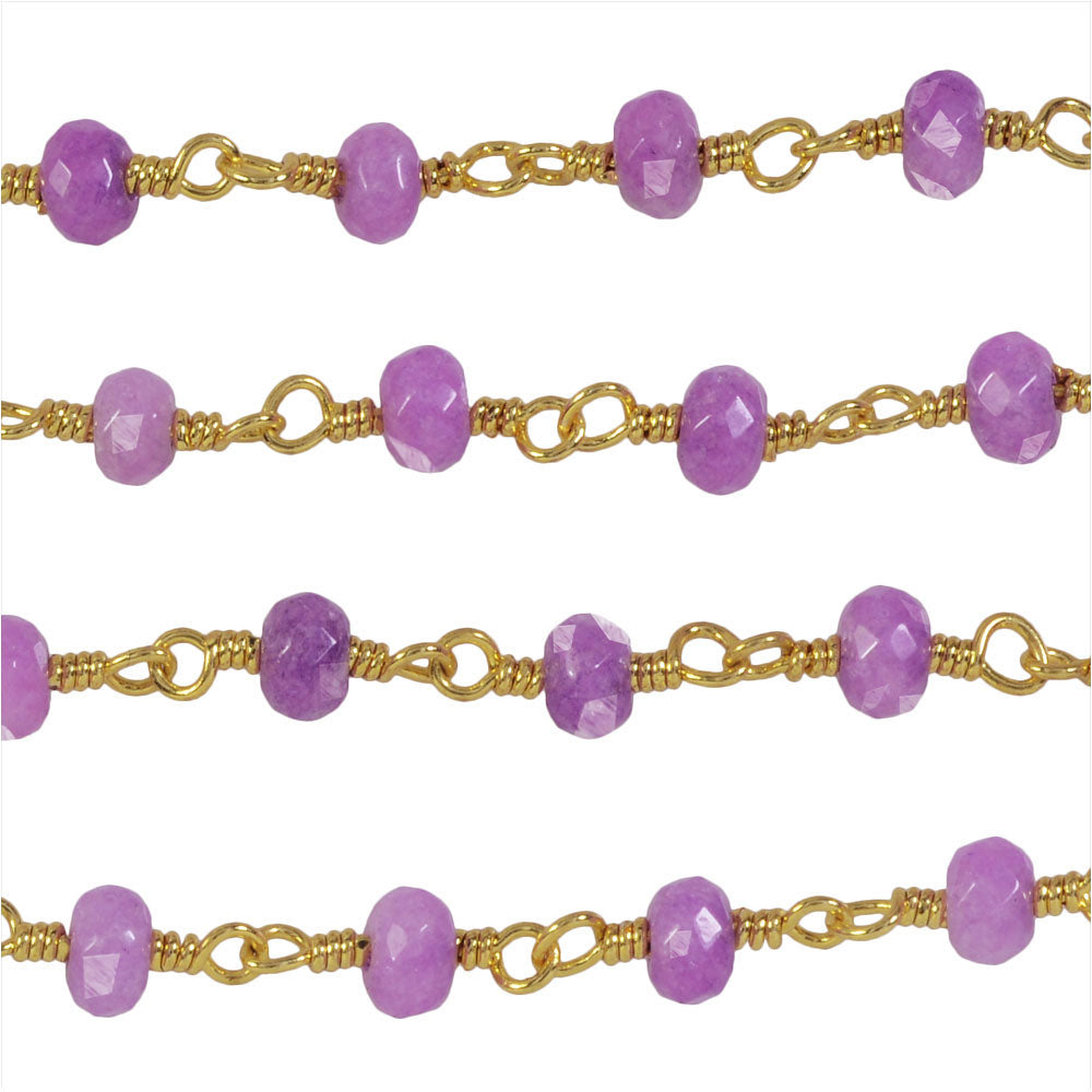 Wire Wrapped Beaded Chain, Purple Faceted Rondelles 3mm, Gold Vermeil, by the Inch
