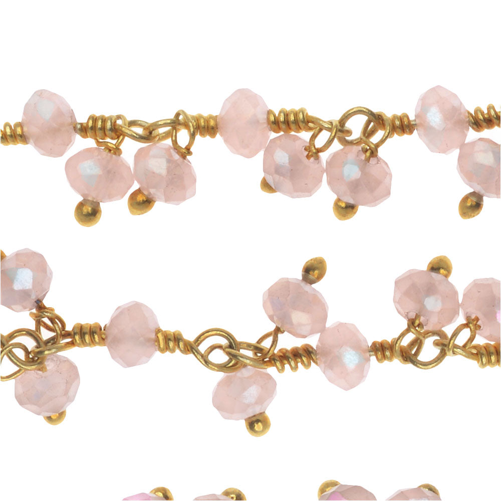 Wire Wrapped Gemstone Chain, Rose Quartz Rondelles Dangles 3.5mm, Gold Vermeil, by the Inch