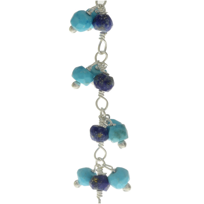 Wire Wrapped Gemstone Chain, 3.5mm Lapis and Turquoise Howlite, Sterling Silver,by the Inch