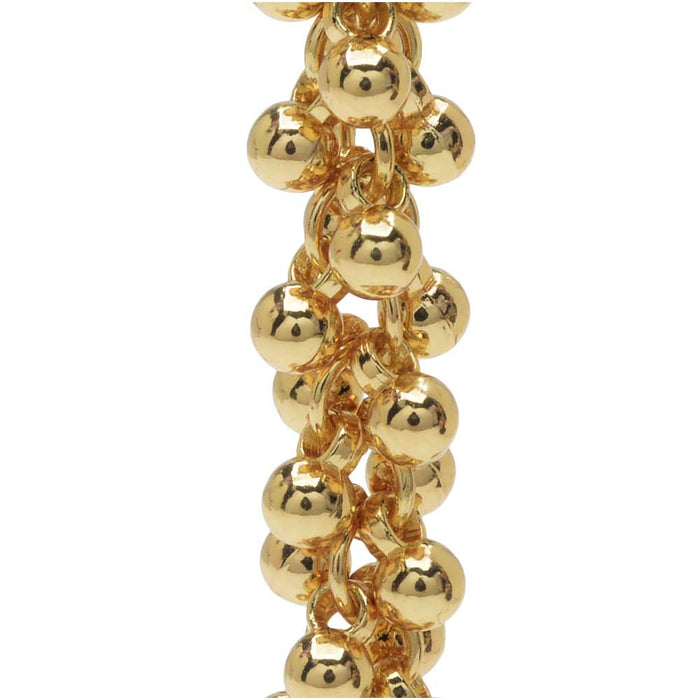 Charm Chain, 4mm Round Bauble Cluster, Gold Tone Plated, by the Inch
