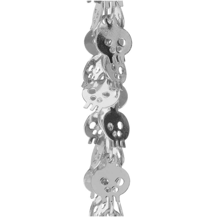 Charm Chain, 7mm Skull Shaped Dangle Charm, Silver Tone Plated, by the Inch