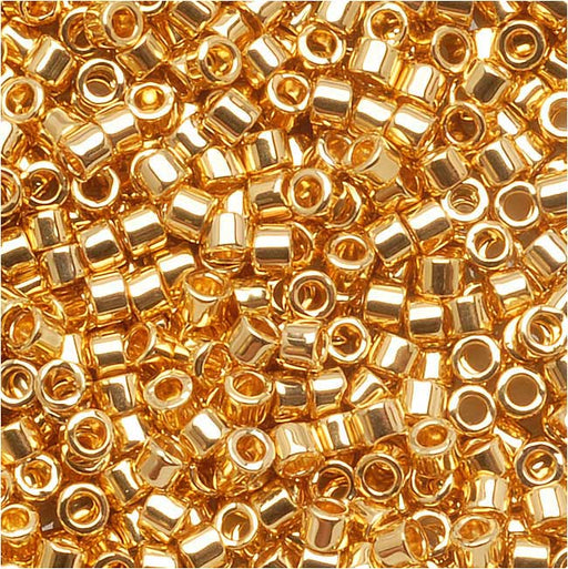 Miyuki Delica Seed Beads, 11/0 Size, 7.2 Grams, 24K Gold Plated DB031