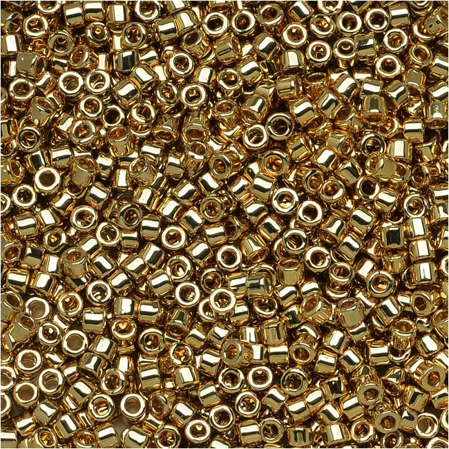 Miyuki Delica Seed Beads, 11/0 Size, 7.2 Grams, Light 24K Gold Plated DB034