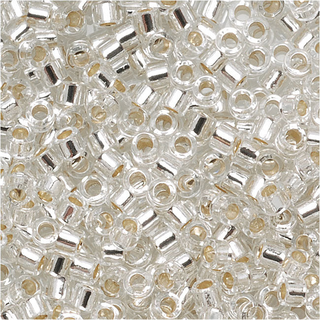 Miyuki Delica Seed Beads, 11/0 Size, 7.2 Grams, Silver Lined Crystal DB041