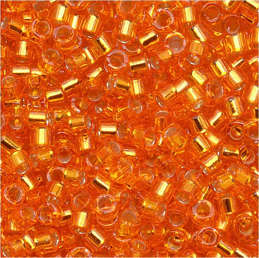 Miyuki Delica Seed Beads, 11/0 Size, 7.2 Grams, Silver Lined Orange DB045