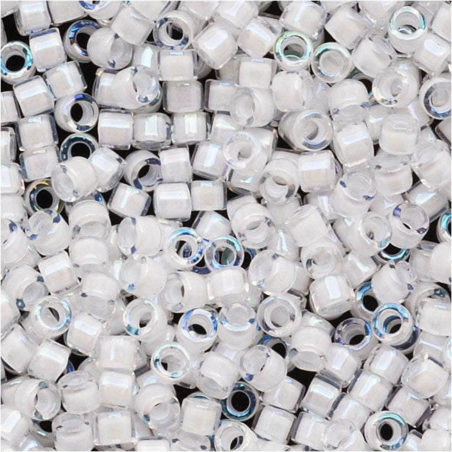 Miyuki Delica Seed Beads, 11/0 Size, 7.2 Grams, White Lined Crystal AB DB066