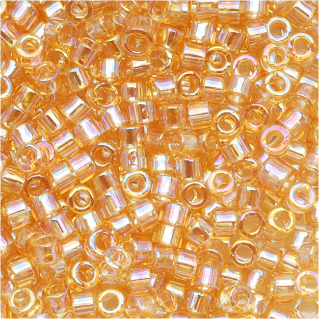 Miyuki Delica Seed Beads, 11/0 Size, 7.2 Grams, Transparent Lt Amber AB DB100