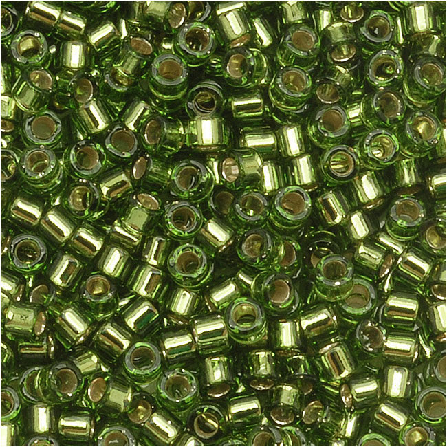 Miyuki Delica Seed Beads, 11/0 Size, 7.2 Grams, Silver Lined Olive Green DB1207