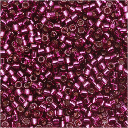 Miyuki Delica Seed Beads, 11/0 Size, 7.2 Grams, Silver Lined Dark Rose DB1342