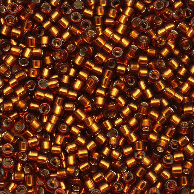 Miyuki Delica Seed Beads, 11/0 Size, 7.2 Grams, Silver Lined Amber DB144