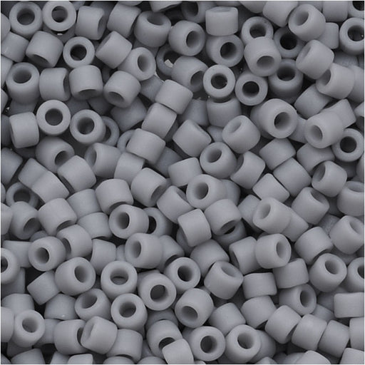 Miyuki Delica Seed Beads, 11/0 Size, 7.2 Grams, Matte Opaque Ghost Grey DB1589