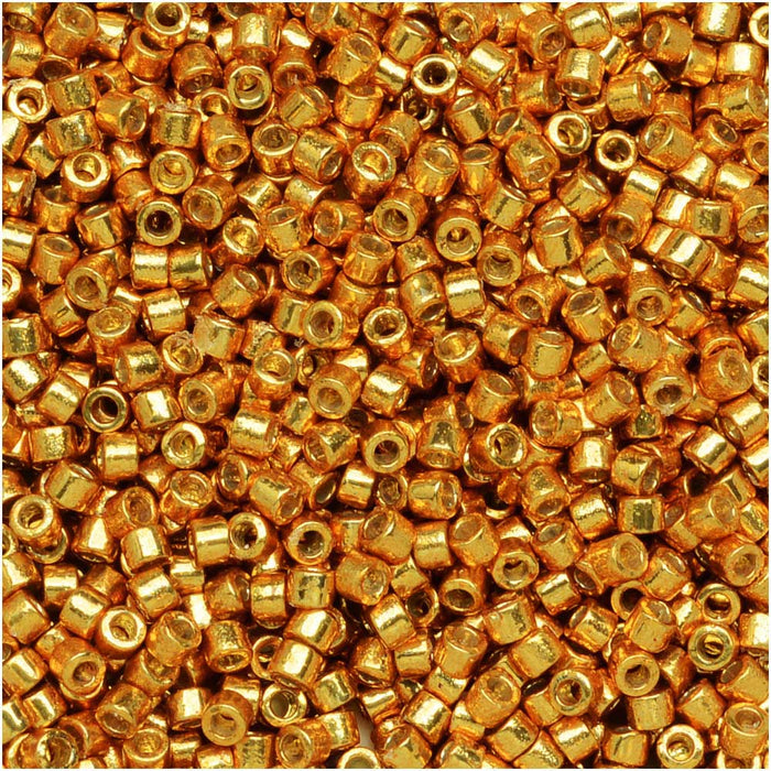 Miyuki Delica Seed Beads, 11/0 Size, 7.2 Grams, Duracoat Galvanized Yellow Gold DB1833